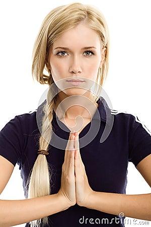 Yoga sport beautiful woman meditation