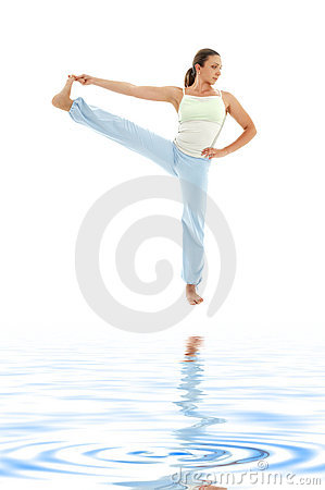 Yoga standing on white sand #2