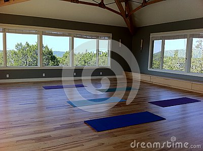 Yoga mats in a studio classroom with wood floors