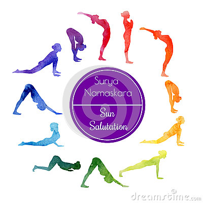 yoga sun salutation stock illustration  image 56952874