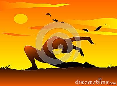 Yoga at sunset Cartoon Illustration
