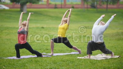 yoga training in park  group of sportsmen perform
