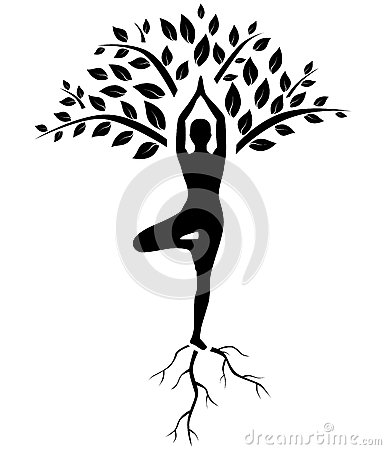 Free Yoga Tree Pose Silhouette Royalty Free Stock Photos - 47579378
