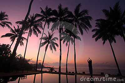Yoga under the coconut trees