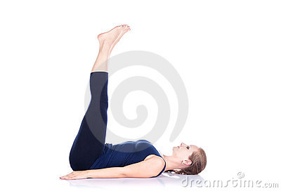 Yoga uttanpadasana on white