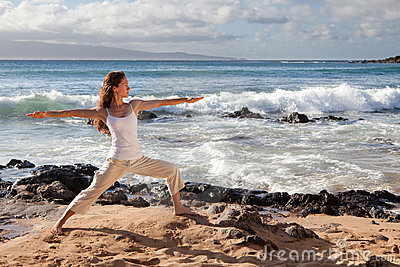 Yoga Warrior II Pose in Maui Hawaii