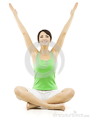 yoga woman happy female open hands raised up lotus pose