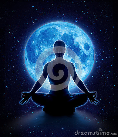 Free Yoga Woman In Moon And Star. Meditation Girl In Moonlight Stock Image - 91582251
