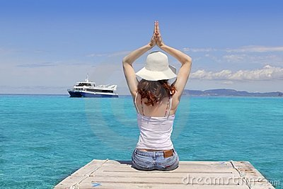 Yoga woman relax tropical sea Formentera Balearic