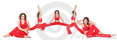 Yoga woman sit five group