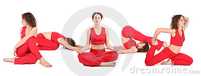 Yoga woman sit group