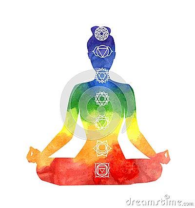 Free Yoga Woman With Chakra Symbols. Royalty Free Stock Photo - 65828925