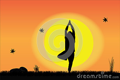 Yoga by Young Man at sunrise or sunset