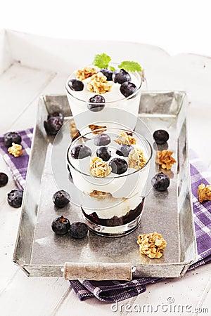 Yoghurt dessert with blueberries