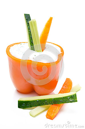 Free Yoghurt Sauce With Herbs In Half Of Orange Pepper Royalty Free Stock Images - 31262639
