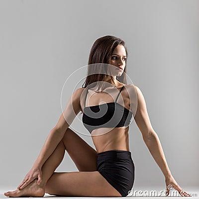 Free Yogi Gymnast Girl Doing Asana Matsiendrasana, Half Lord Of The F Stock Photo - 49030740