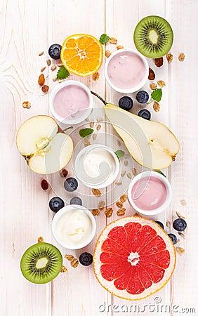 Free Yogurt With Fresh Fruits Royalty Free Stock Photo - 64455545