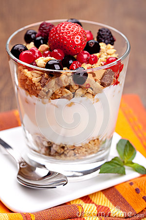 Free Yogurt With Muesli And Berries Royalty Free Stock Images - 26349079