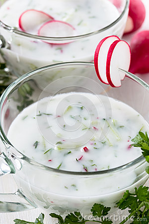 Free Yogurt With Vegetables In A Glass. Russian Okroshka, Cold Summer Stock Photos - 40591673