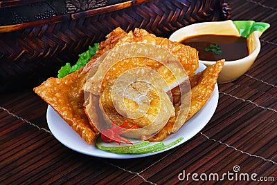 Yong Tau Fu. Asian cuisine of fish paste stuffed