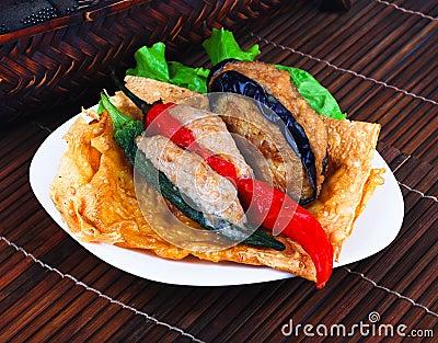 Yong Tau Fu. Asian cuisine fish paste stuffed