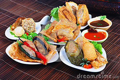 Yong Tau Fu. Asian cuisine of fish paste stuffed