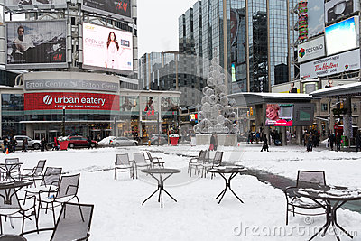 Yonge and Dundas Square after snow Editorial Image