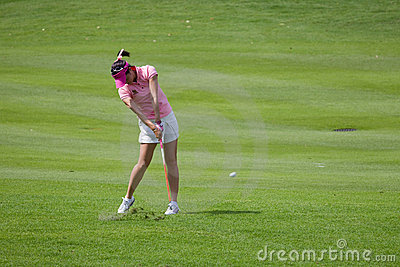 Yoopan hits a fairway shot at LPGA Malaysia Editorial Stock Image