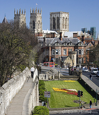 York Minster & City Wall - York - England Editorial Stock Image