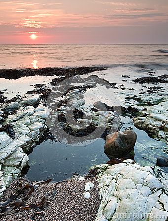 Yorkshire coast sunrise and rockpools