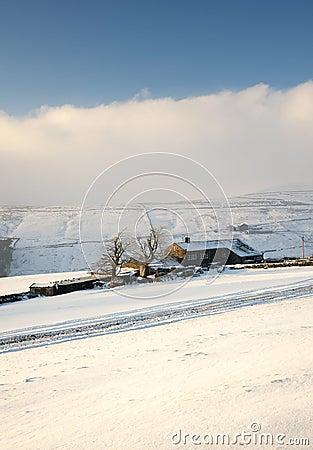 Yorkshire farmhouse in deep snow