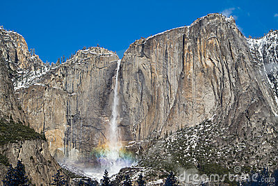 Yosemite fall with rainbow