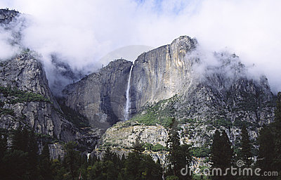 Yosemite Falls in storm clouds