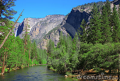 Yosemite Falls In summer On A Clear Day