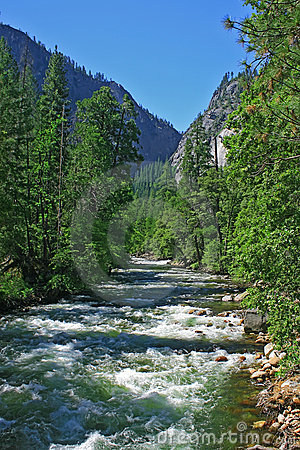 Yosemite river In summer On A Clear Day