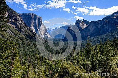 Yosemite Valley with Blue Sky and Clouds