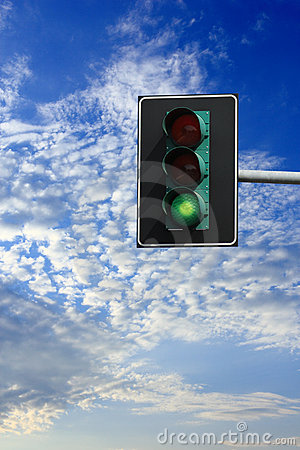 You can go: green light on traffic lights