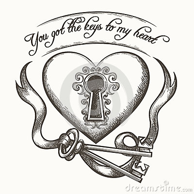 Free You Got The Keys To My Heart Vintage Hand Drawn Vector Illustration With Ribbon Isolated On White Background Royalty Free Stock Photos - 88639908