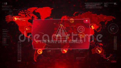 You Have Been Hacked Alert Warning Attack on Screen World Map Loop Motion