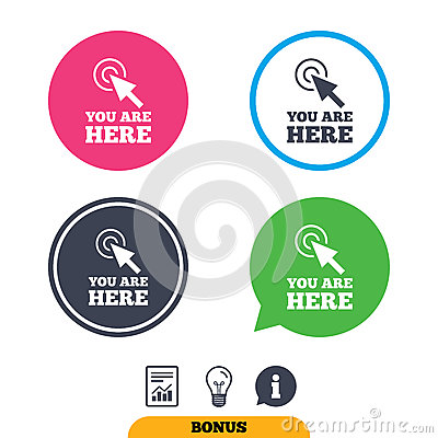You are here sign icon. Info speech bubble. Vector Illustration
