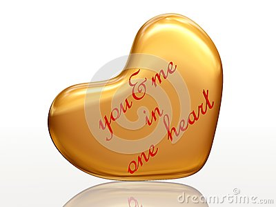 You & me in one heart in golden heart