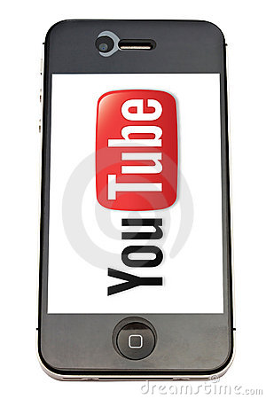 You Tube logo and iPhone Editorial Stock Image