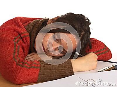 Youn Woman Fell Asleep While Writing