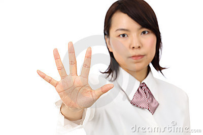 Yound asiatisches Geschäftsfrauerscheinen KEINE Geste
