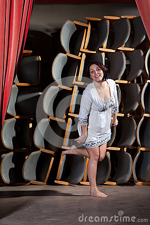 The young actress on stage