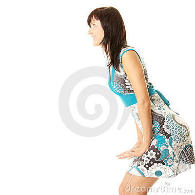 Young adult girl rejoicing in new dress