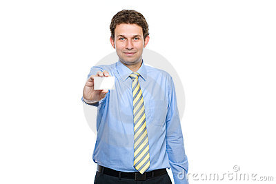 Young adult holds business card, isolated