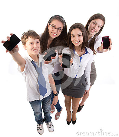 Young adult  with mobile phones