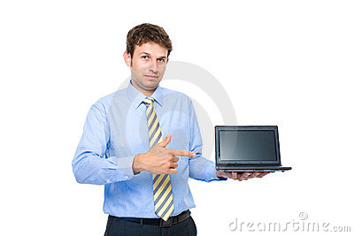 Young adult point to small laptop, 10 inch screen