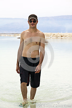 Tourist in Dead Sea